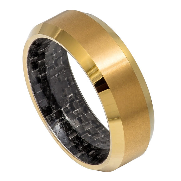 Tungsten - 8mm - Yellow Gold Ion Plated with Black Carbon Fiber Sleeve Inlay