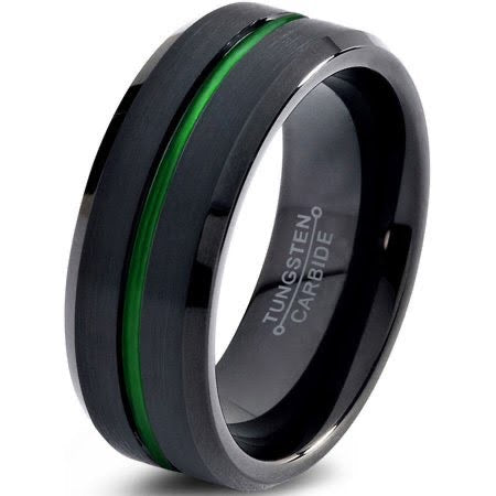 Black Tungsten ring with Green Inlay