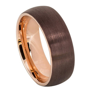 Tungsten 8mm Domed Brushed Brown Mocha Outside and Rose Gold Inside Ring Wedding Band