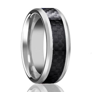 Tungsten 8mm High Polished with Black Carbon Fiber Inlay