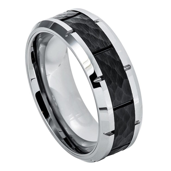Tungsten 8mm High Polished Notched Beveled Edges with Black Hammered Center Inlay