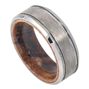 Tungsten 8mm Grooved Wire Brushed Center with Mahogany Wood Sleeve