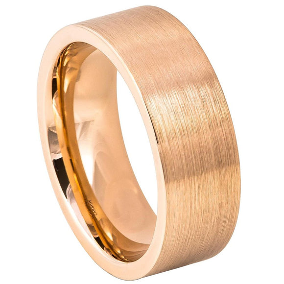 Tungsten 8mm Flat Pipe Cut Rose Gold Ion Plated Ring