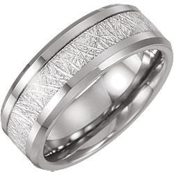Tungsten Wedding Band Ring with Meteorite Inlay