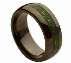 Black Ceramic 8mm Domed Ring with Green/Black Carbon Fiber Inlay