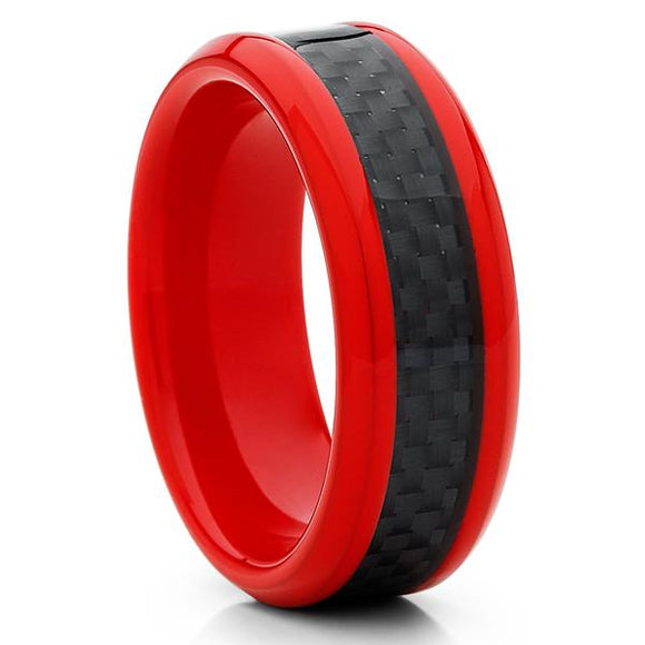 Red Tungsten Ring with Black Carbon Fiber Inlay  and Rounded Beveled Edges - 8mm