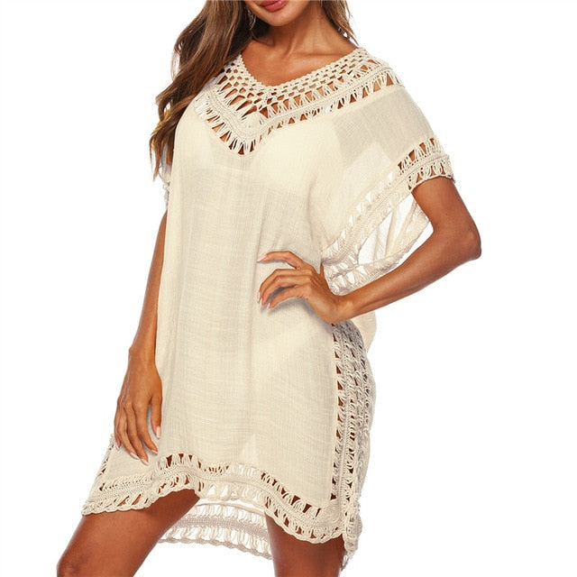 2ca668f3e9c5 ... 9 Color Kaftan Tunic Beach Dress Women Swim Cover Up 2019 Summer  Swimsuit Cover-Ups ...