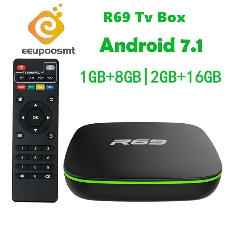 R69 Smart Android 7 1 TV Box 2GB 16GB Allwinner H3 Quad-Core WiFi 2 4GHz  1G8G Set Top Box 1080P HD Support 3D movie Media player