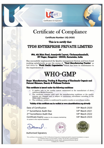 WHo-GMP Certification of Hello Hair Oil