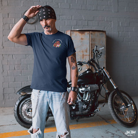 Biker avec Tee shirt tatouage old school homme Ink Shirt