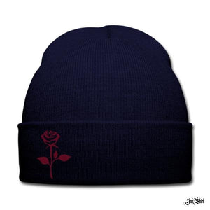 Bonnet bleu marine à revers mixte imprimé motif « Rose Stylisée» - Ink Shirt