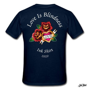 Tee shirt Homme tatouage bleu marine 'Love Is Blindness' - Ink Shirt