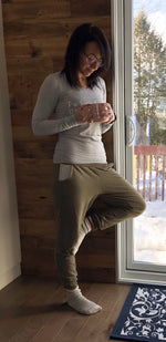 Joggings Annye - French Terry Bambou Olive - Fait par une maman