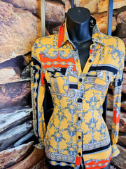 Womens Hermes Chain Print Blouse