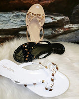 women's studded bow sandals