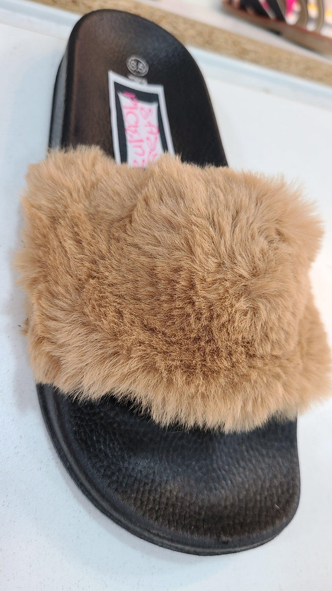 [prodcut_type] - Furry Slip On Sandals - Easy Pickins