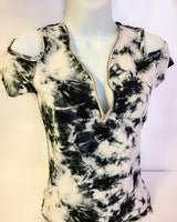 Womens Tie Dye Zip Front Top