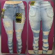 Womens Distressed Denim Jean