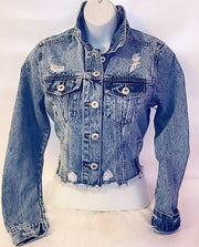 Womens Distressed Denim Jacket