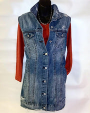 Womens Long Denim Vests
