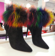 Womens Fur Cuff Lilliana Stallion Stiletto Bootie