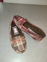 Womens Plaid Fur Lined Moccasin