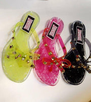 Womens Jelly Bow Studded Sandals