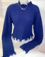 Womens Frayed Hem Sweater