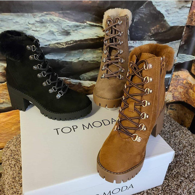 Womens Fur Collar Lace up Bootie