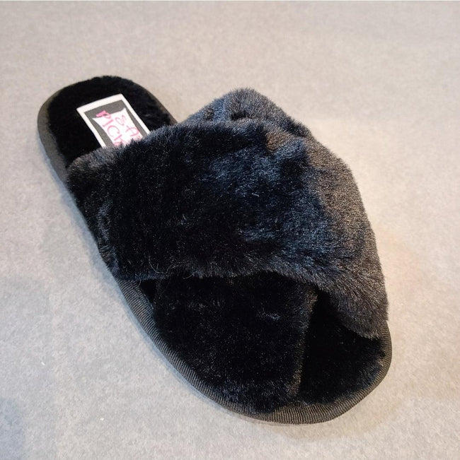 [prodcut_type] - Furry Feet Criss Cross Slippers - Easy Pickins