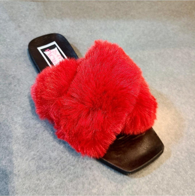 [prodcut_type] - Squared Off Faux Fur Slide Sandal - Easy Pickins