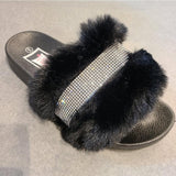 [prodcut_type] - Layla with Stones Faux Fur Slide Sandal - Easy Pickins