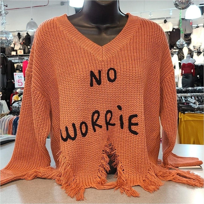 [prodcut_type] - No Worries (Be Happy) Crop Sweater Top - Easy Pickins