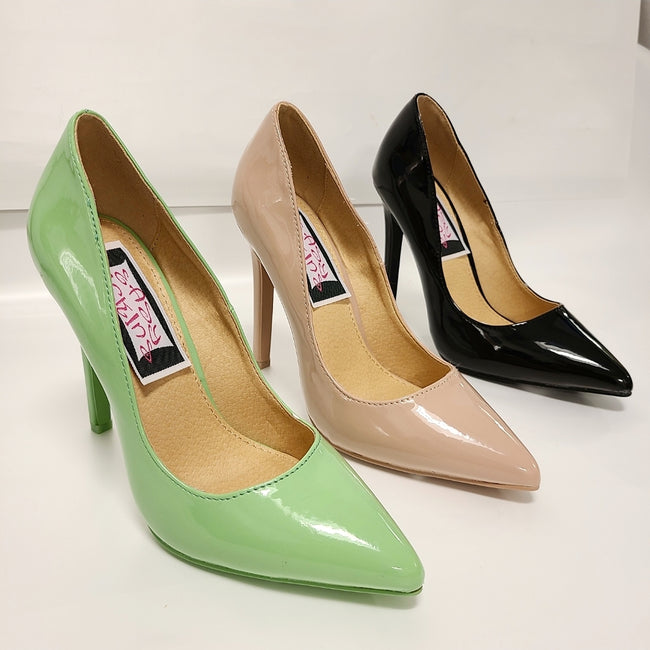 [prodcut_type] - Eyes Up Here Pointy Toe Patent Pumps - Easy Pickins