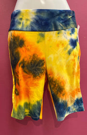 womens biker shorts tiedye
