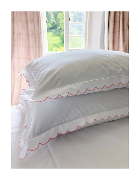 Scalloped Edged, Hand Embroidered Cotton Bed Linen Set