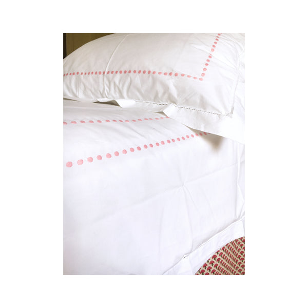 Dot Motif, Hand Embroidered Cotton Bed Linen Set