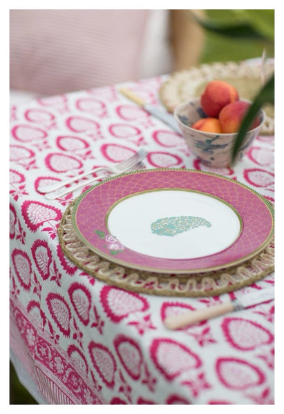 Thistle design block printed tablecloth