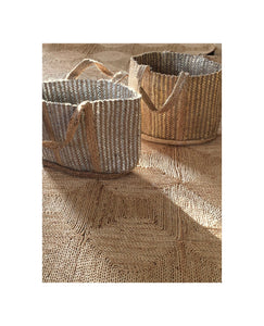 Summery jute and rayon striped basket