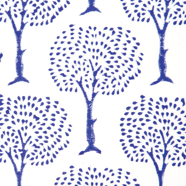Blue Tree Design Block Printed Cotton Tablecloth