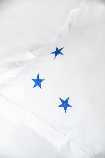 Blue Star Motif, Hand Embroidered Cotton Bed Linen