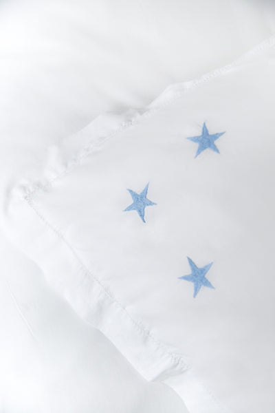 Pale Blue Star Motif, Hand Embroidered Cotton Bed Linen