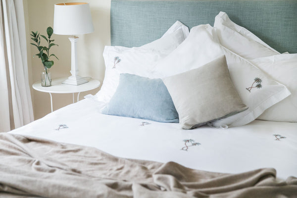Palm Tree Motif, Hand Embroidered Cotton Bed Linen Set