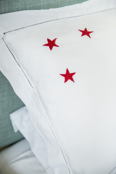 Red Star Motif, Hand Embroidered Cotton Bed Linen