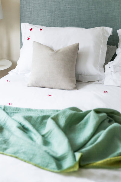 Star Motif, Hand Embroidered Cotton Bed Linen
