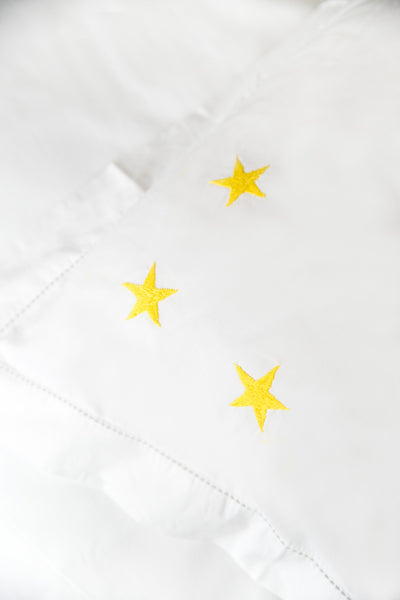 Yellow Star Motif, Hand Embroidered Cotton Bed Linen