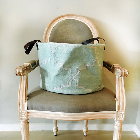 Green and Silver Dhurrie Storage Bag