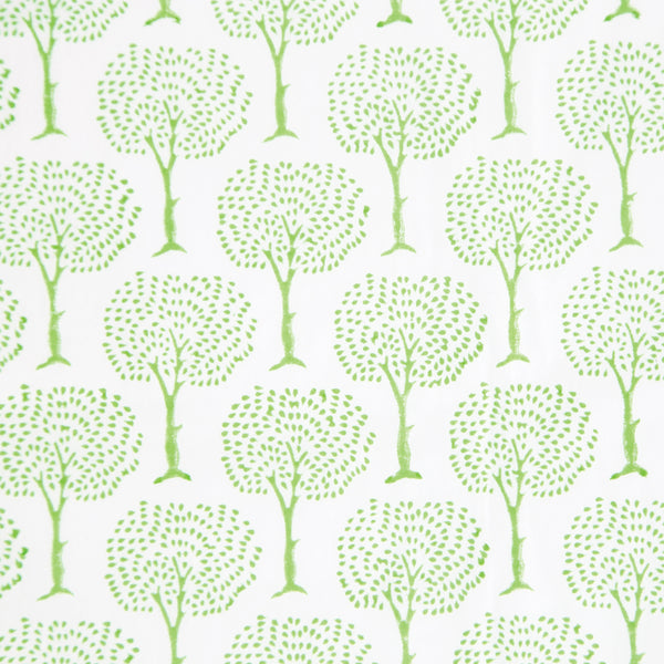 Green Tree Design Block Printed Cotton Tablecloth