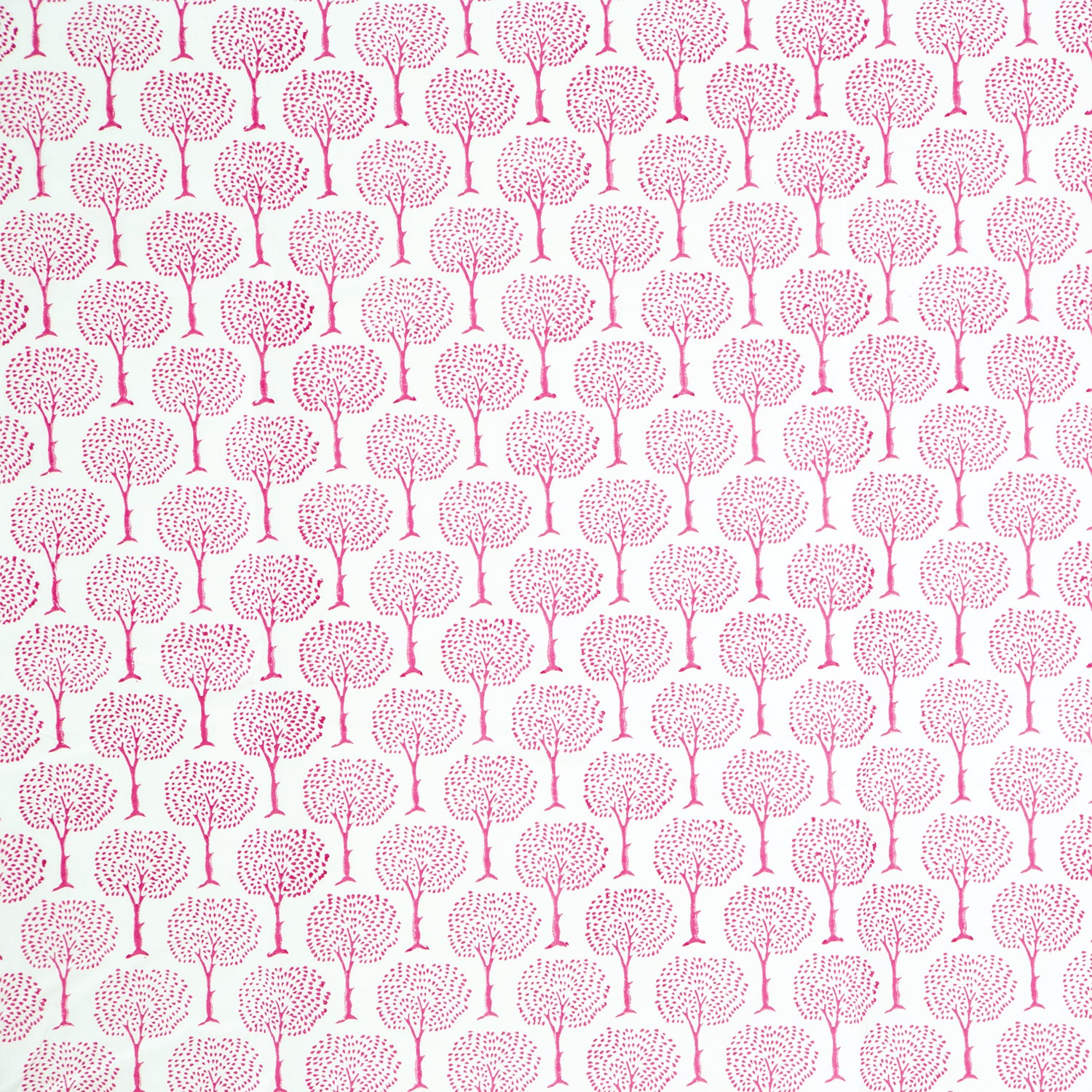 Pink Tree Design Block Printed Cotton Tablecloth