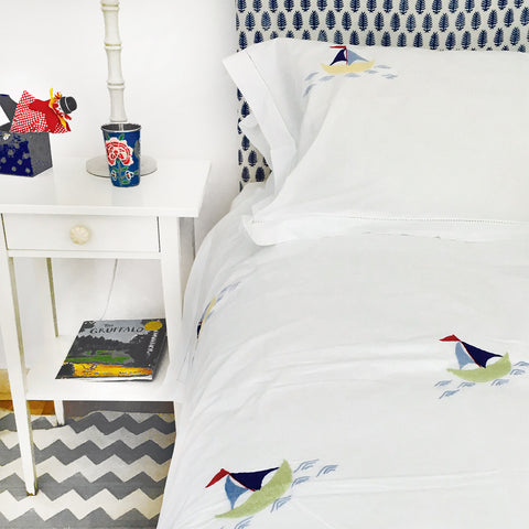 Sailing Boat Embroidered Bed Linen